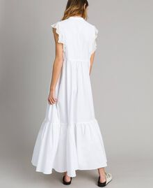 Poplin long dress with ruches White Woman 191TT2262-04