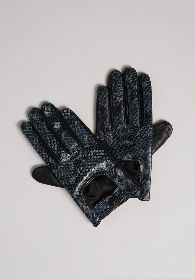 Leather touch screen gloves with buttons