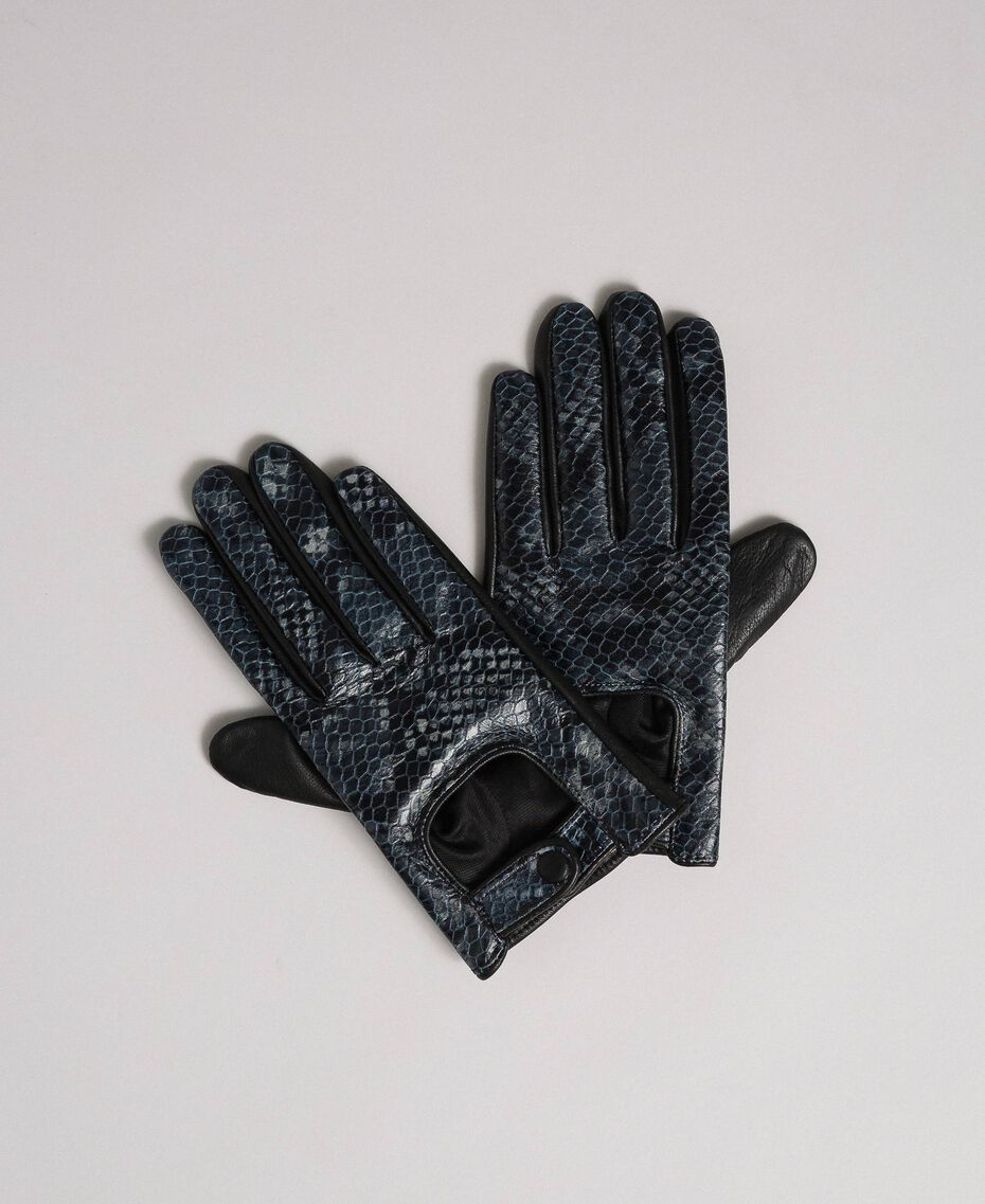 "Leather touch screen gloves with buttons ""Anthracite"" Grey Python Print Woman 192TO536C-01"