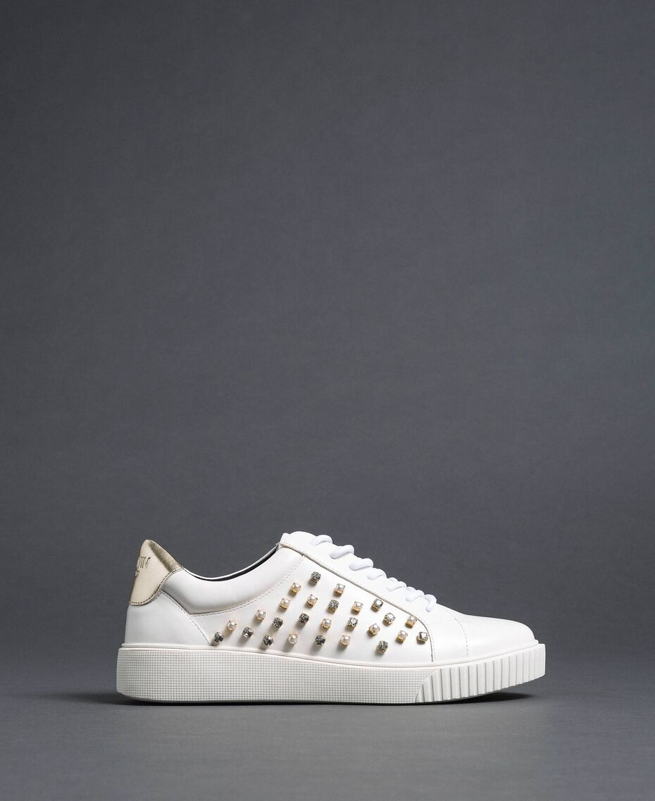Sneakers in similpelle con strass Bianco Donna 192MCT140-01