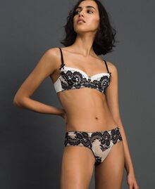 Two-tone lace Brazilian briefs Ivory / Black Woman 192LL6D77-02