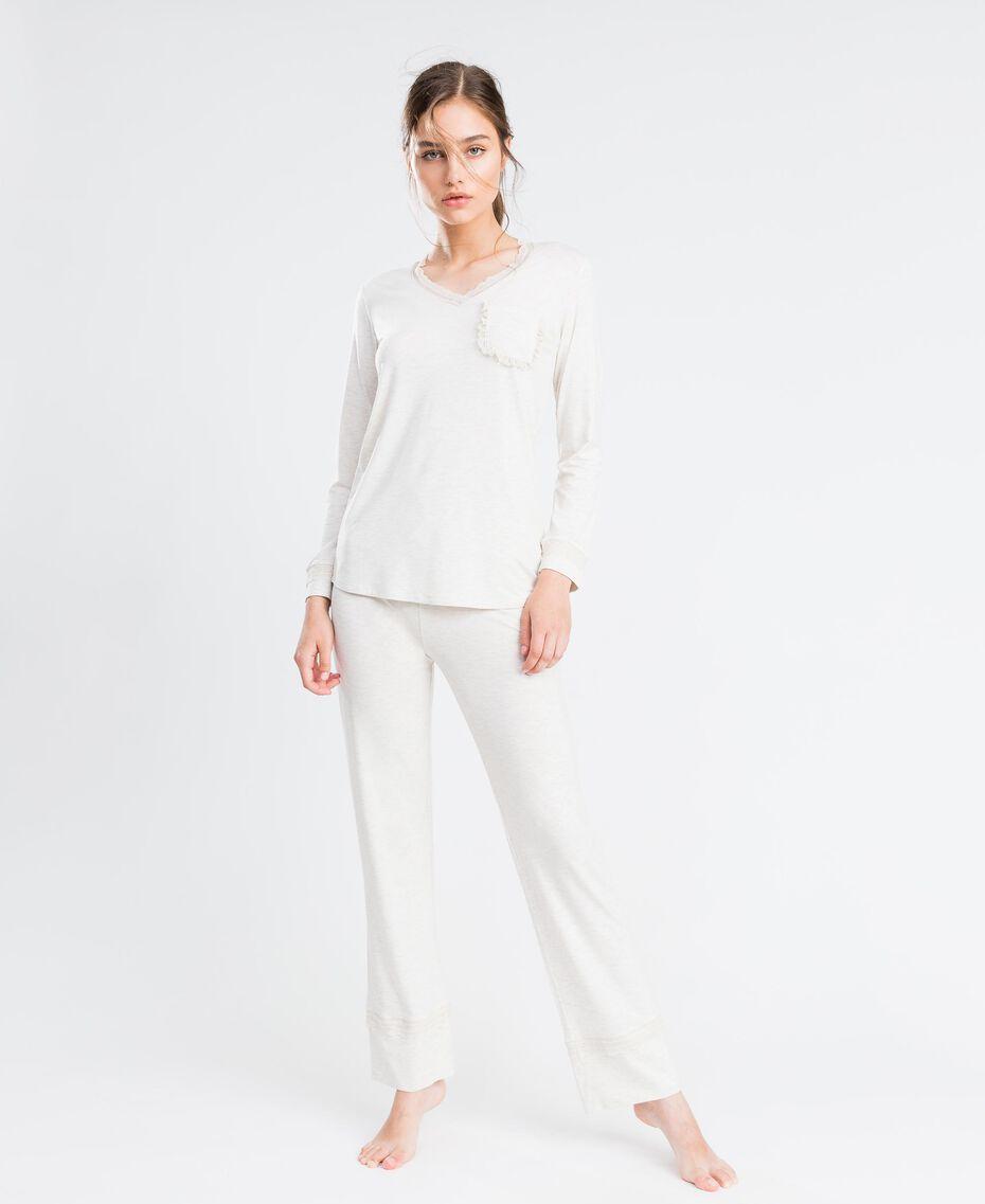 Langer Pyjama aus Viskosejersey mit Stretchanteil Elfenbeinmelange Frau LA8BGG-0S