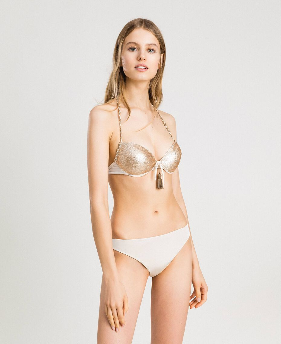 Push-up bikini top with sequins Ivory Woman 191LMMC44-02