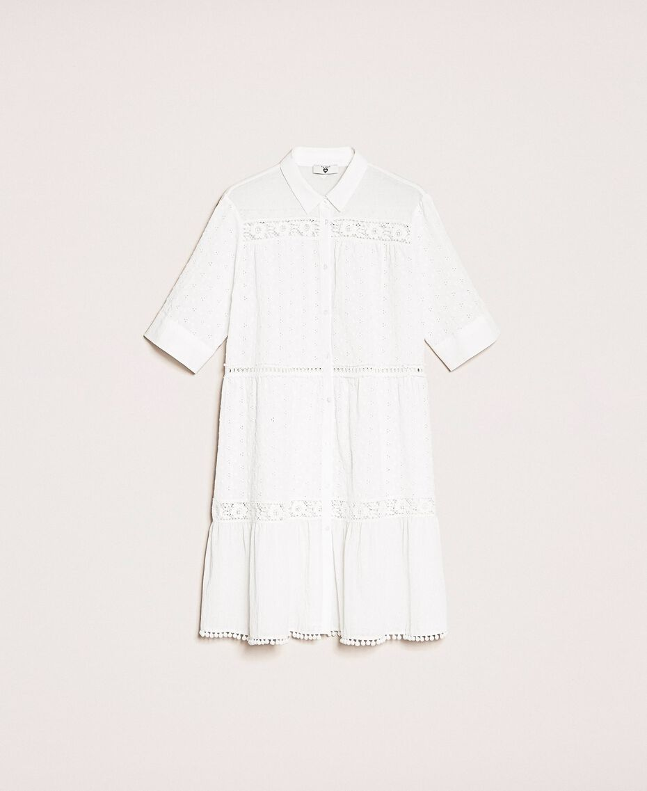 Broderie anglaise shirt dress with lace White Woman 201LM2LCC-0S