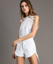 Tank top with floral patch White Woman 191TT2201-01