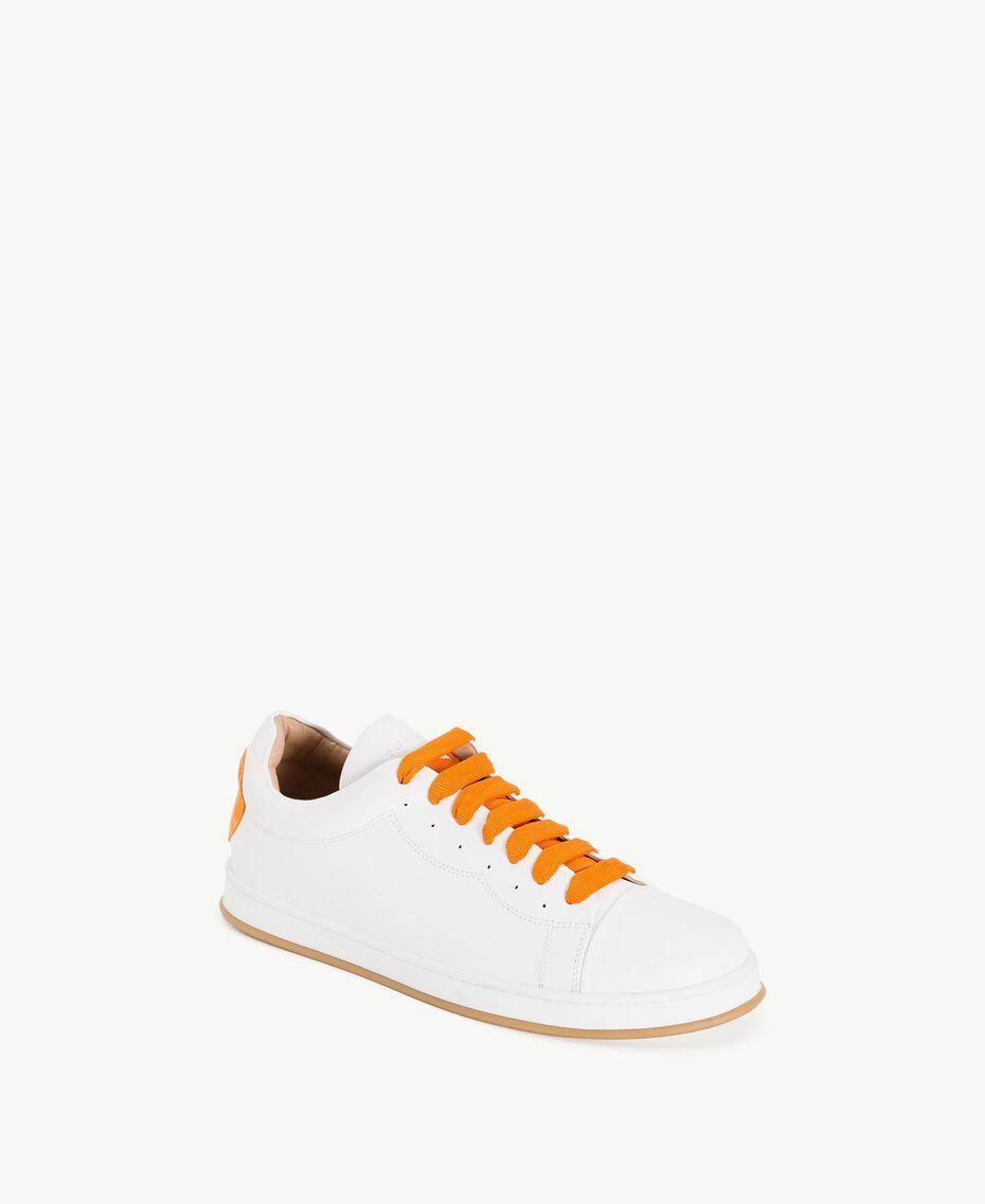 TWINSET Baskets cœur Bicolore Blanc Optique / Orange Femme CS8PJJ-02