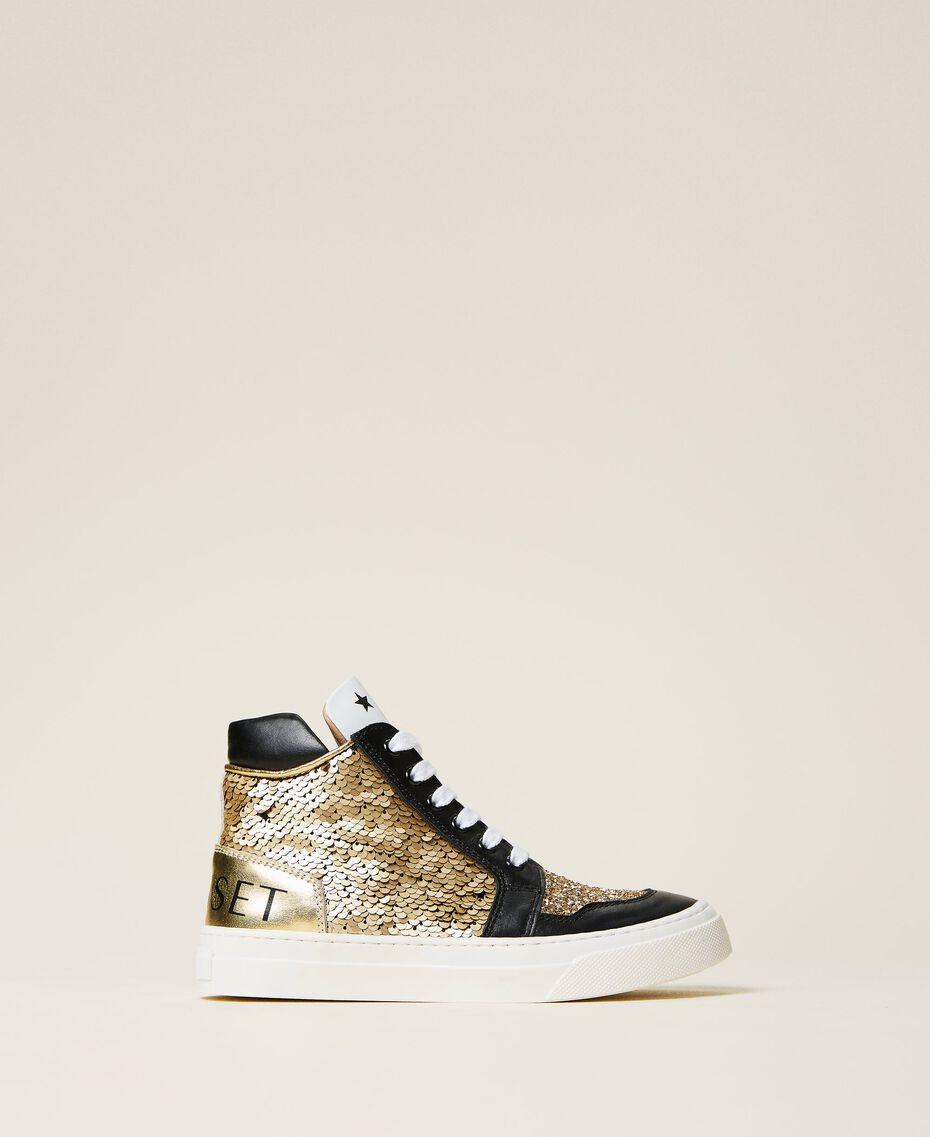 Sneakers de piel con lentejuelas Multicolor Oro Niño 212GCJ044-03