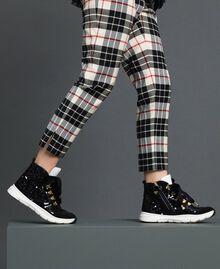Hohe Sneakers aus Leder mit Pailletten Schwarz Kind 192GCJ046-0S
