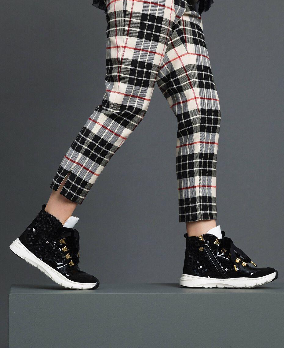 Sneakers alte in pelle con paillettes Nero Bambina 192GCJ046-0S