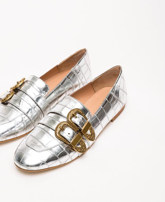 Leather moccasins with crocodile print