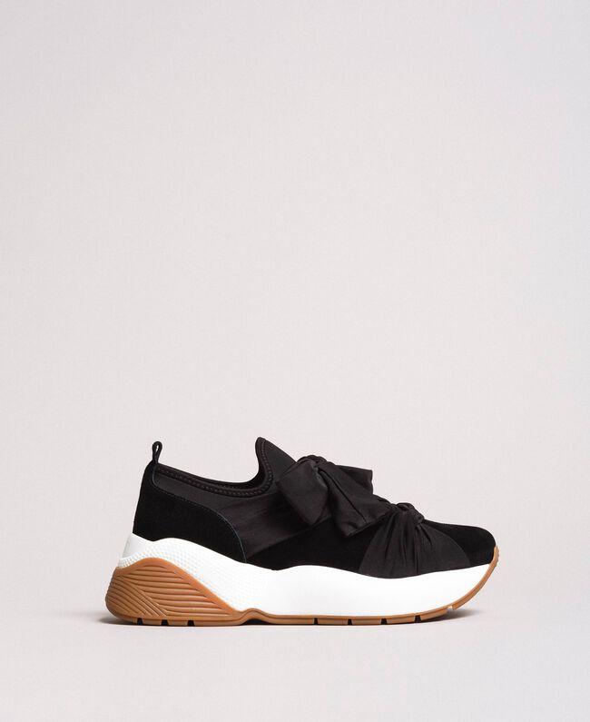 Sneakers in tessuto con maxi fiocco Nero Donna 191TCP154-04