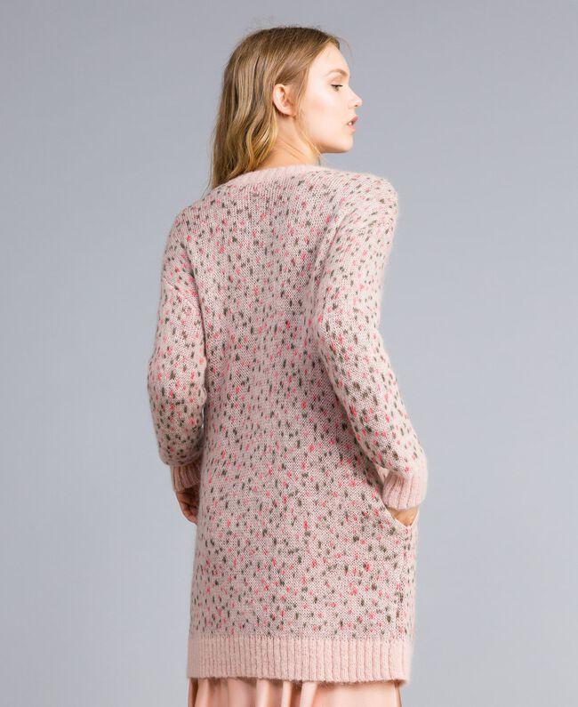 Cardigan long jacquard floral et pois Jacquard Fleurs Rose Pâle Femme TA83CB-03