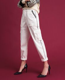 Combat trousers with stones and studs White Snow Woman 192TP2583-03