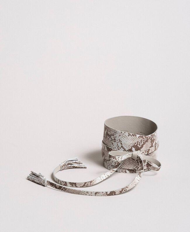 Lederschärpe mit Tiermuster Motiv Ice Python Frau 191TA4308-01