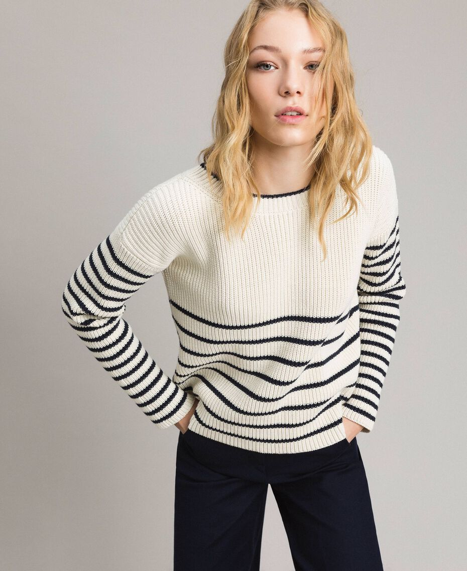 Striped top with eyelets Deep Blue / Snow Striping Woman 191TP3121-02