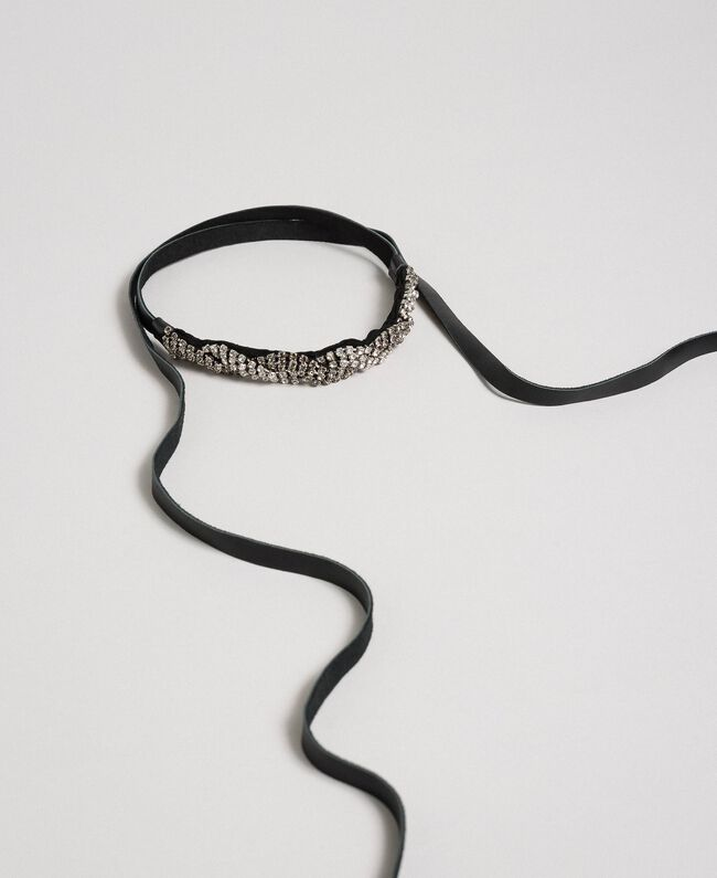 Gürtel-Choker aus Leder mit Strass Zweifarbig Kristall / Black Diamond Schwarz Frau 192TA436D-01