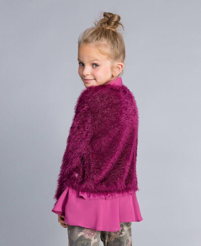 Cardigan en point fourrure Violet Raisin Doux Enfant GA83D3-04