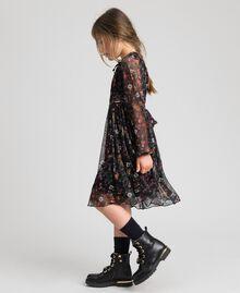 Tüllkleid aus Georgette mit Blumenprint Print Erdbeeren und Himbeeren Kind 192GJ2505-05