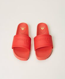 """Sliders with embossed logo """"Cherry Pink"""" Woman 211LMPZNN-05"""