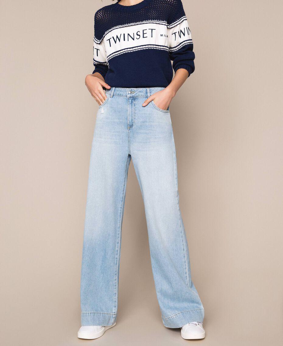 Wide leg jeans with five pockets Denim Blue Woman 201MP2281-01