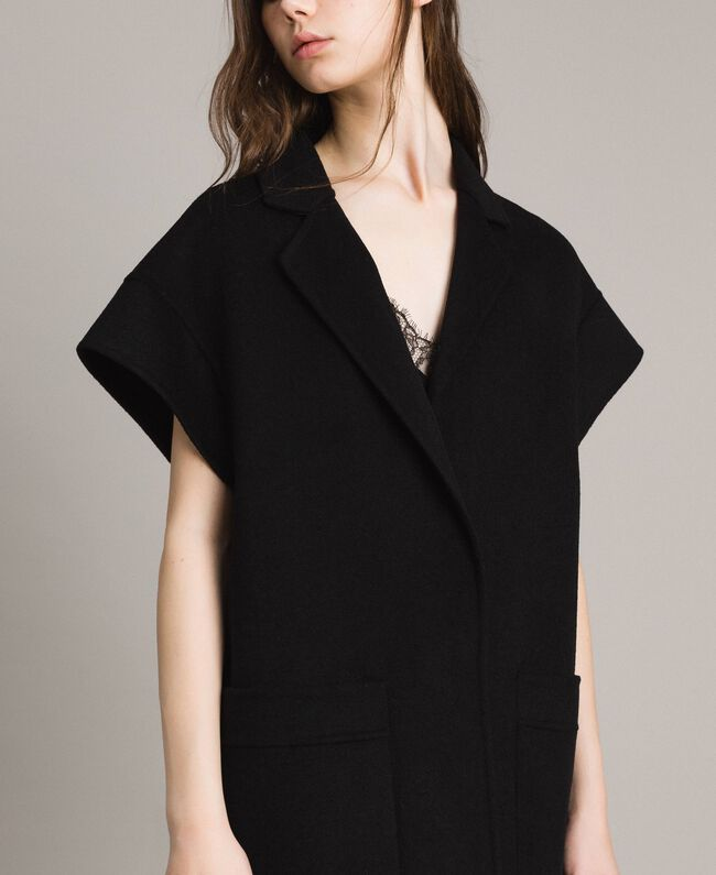 Double wool cloth waistcoat Black Woman 191TP2482-04