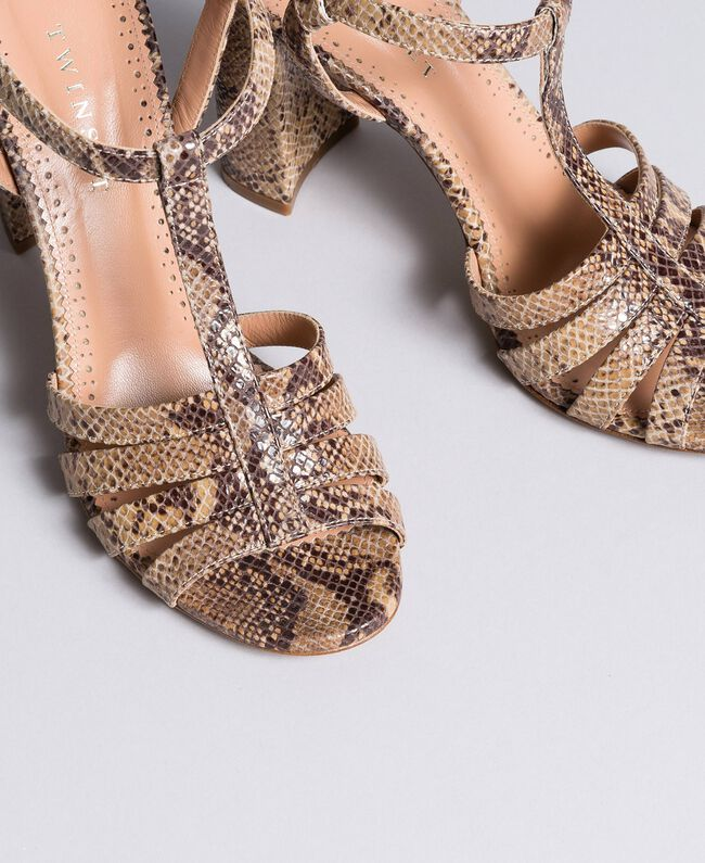 "Animal print leather sandals Brown ""Python Rock"" Woman CA8PQ3-04"