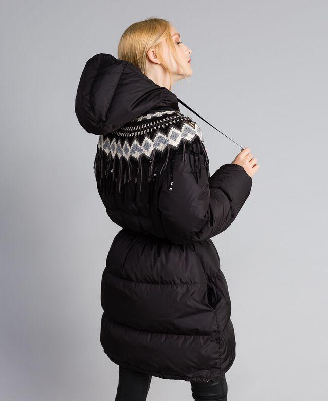 Doudoune longue avec insertion en maille Noir Femme QA8TED-04