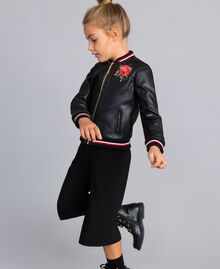 "Embroidered faux leather jacket Bicolour Black / ""Poppy"" Red Child GA82B1-02"