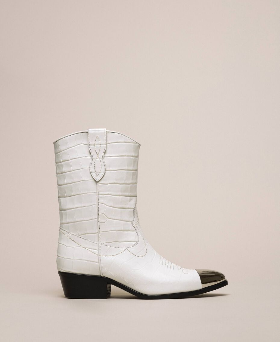 "Leather Texas boots with crocodile print ""Snow"" White Crocodile Print Woman 201TCP040-01"
