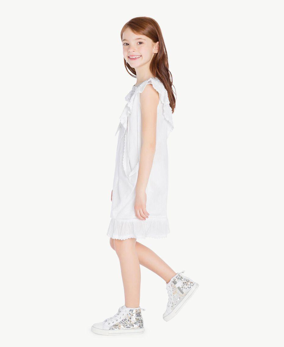"Embroidered dress ""Papyrus"" White Jacquard Stripes / Light Melange Grey Child GS82LA-03"