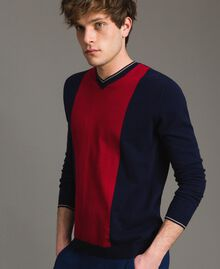 "Crêpe cotton jumper with inlay pattern Multicolour ""Blackout"" Blue / ""Dark Raspberry"" Red / Beige Porcelain Man 191UT3020-01"