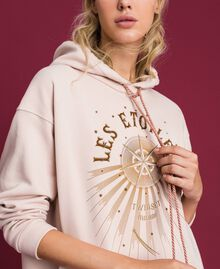 Oversize sweatshirt with print in front Bud Pink Woman 192TT2130-01