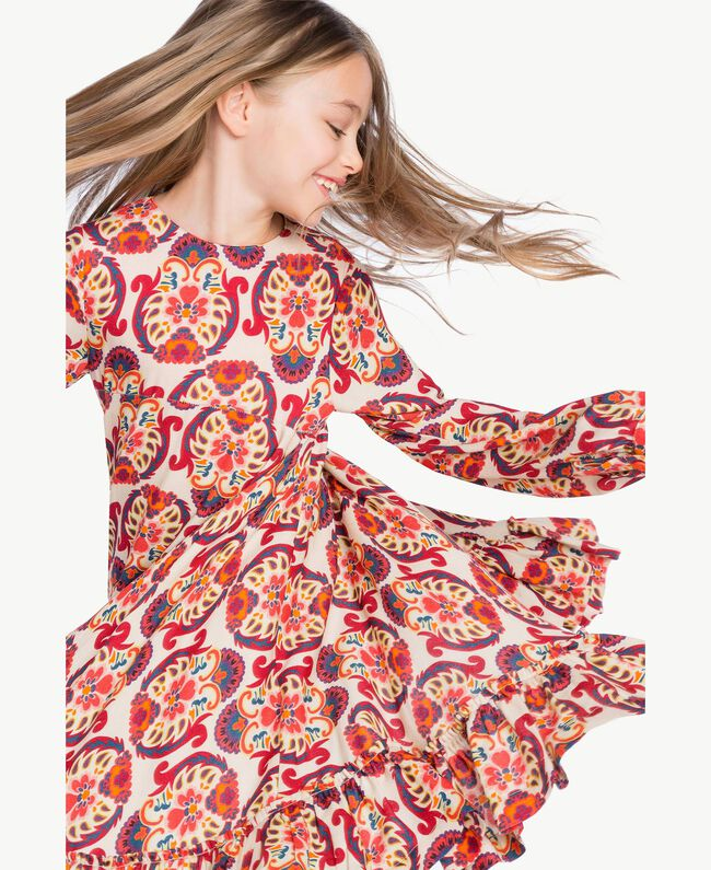 "Kleid mit Print ""Folk Cream""-Print GA7243-04"