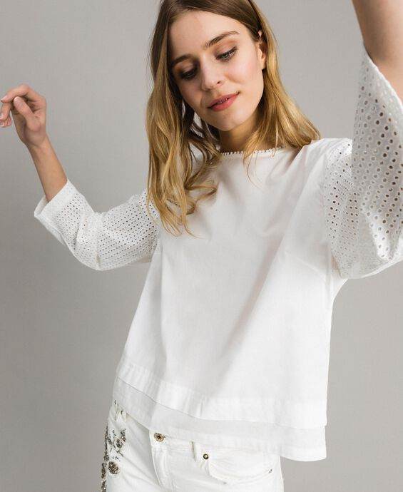 Poplin blouse with broderie anglaise embroidery
