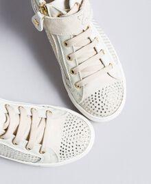 Sneakers aus Leder und Strass Mattweiß Kind HA86DA-01