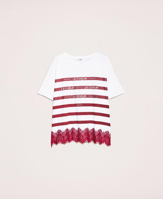 Gestreiftes Oversize T-Shirt mit Logo und Spitze