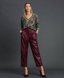 Широкие брюки из искусственной кожи Красный Бархат женщина 192TT203C-0T