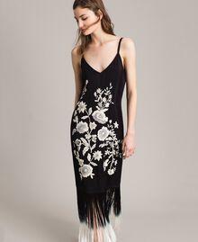 Robe longue avec broderies florales et franges Noir Femme 191TT2134-05