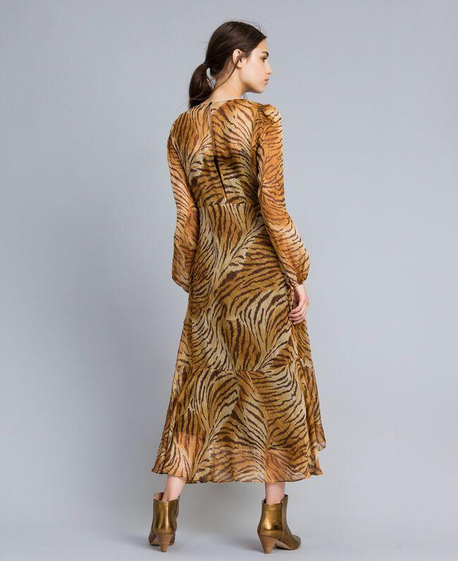 Vestido largo de seda estampada Estampado Tigre Mujer TA8254-03
