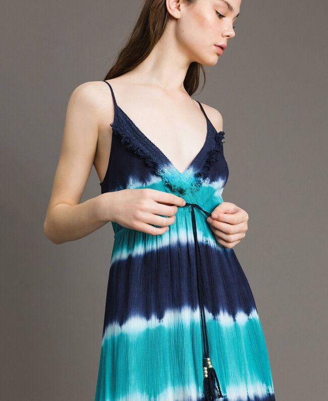 """Tie-Dye-Maxikleid mit Streifen Multicolour Blunight / Cremeweiß / """"Green Bay"""" Grün Frau 191MT2322-04"""