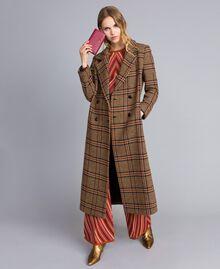 """Cappotto lungo in panno check Bicolor Quadri Beige """"Cookie"""" / Arancione """"Bruciato"""" Donna TA821G-0T"""