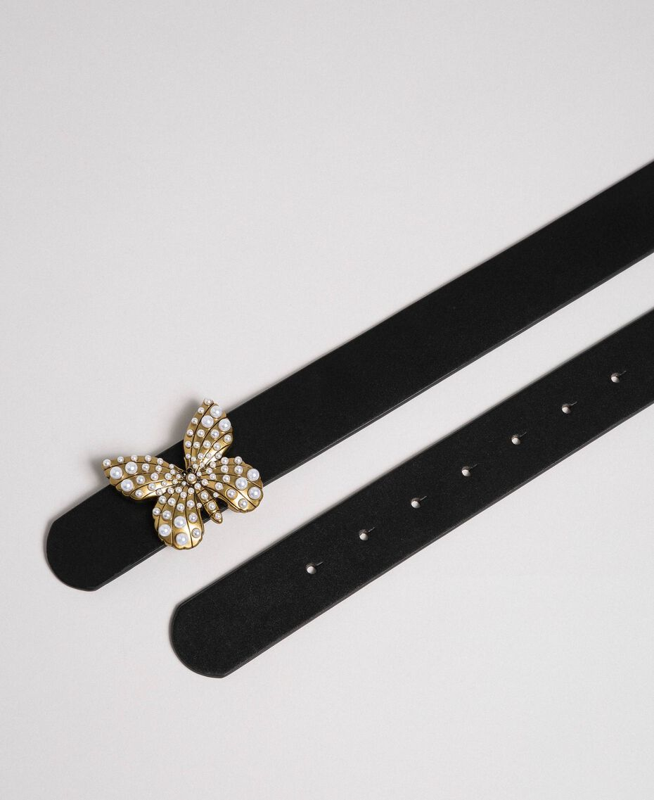 Leather belt with butterfly, regular Black Woman 192TA4307-03