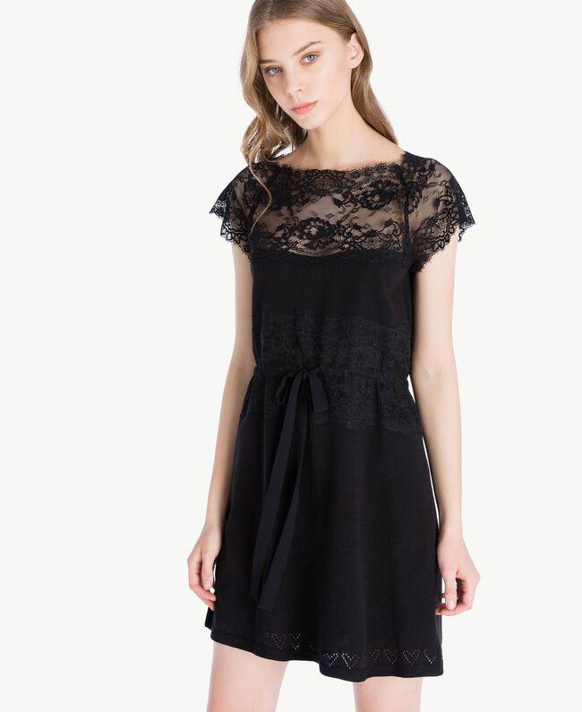 Kleid mit Spitze Schwarz Frau PS83DL-04