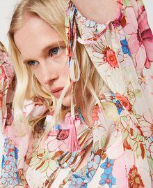 "Floral print midi dress ""Fuchsia Pink"" Large Floral Print Woman 211LM2JHH-05"