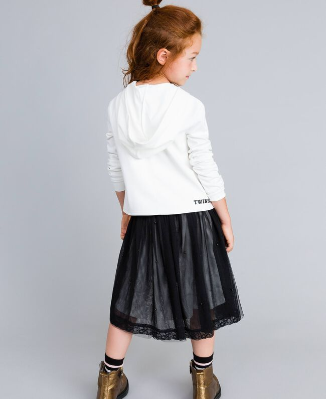 Gonna in tulle con perle Bicolor Nero / Off White Bambina GA82JE-03