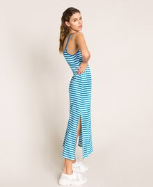 "Striped terry cloth long dress Two-tone ""Bay"" Blue / Optical White Woman 201LM2LQQ-04"