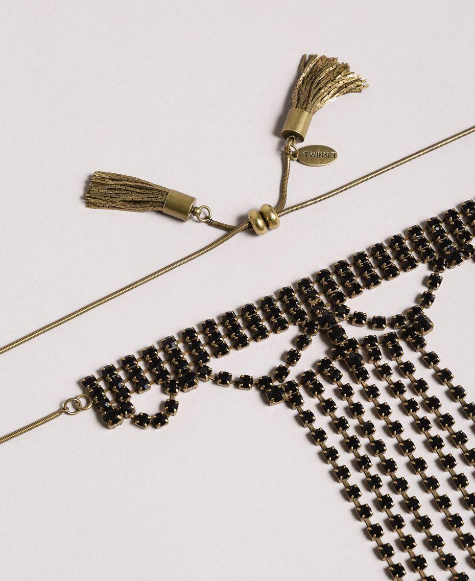 Collier chocker orné de strass et de pompons métalliques Noir Femme 191TO5341-02