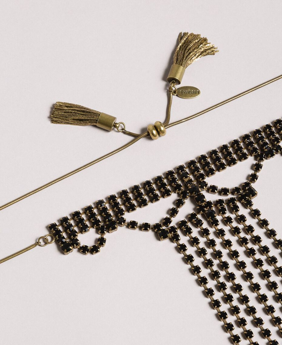 Choker with rhinestones and metal tassels Black Woman 191TO5341-02