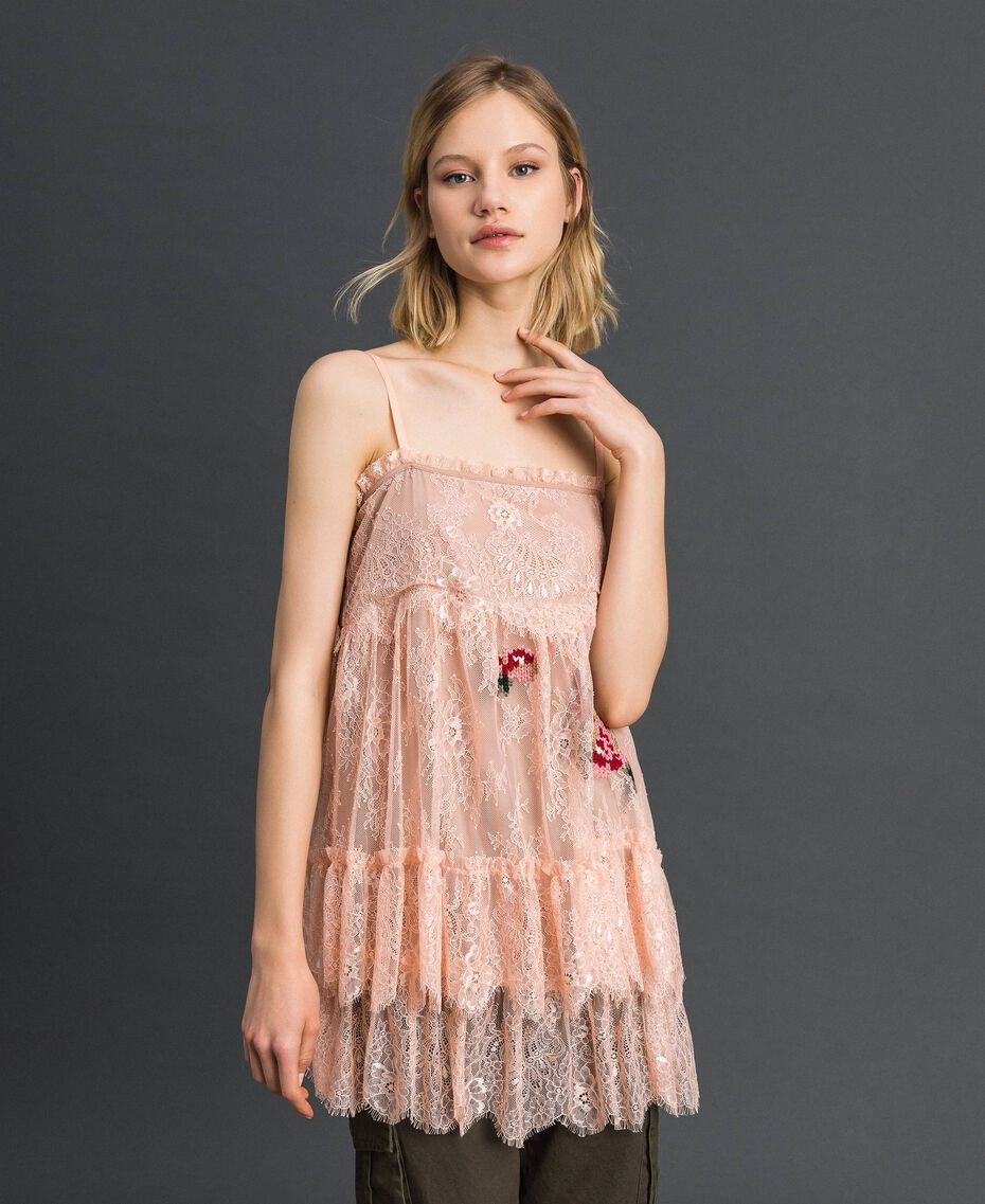 "Valenciennes lace top with floral thread embroidery ""Pale Pink"" Woman 192TP2588-01"