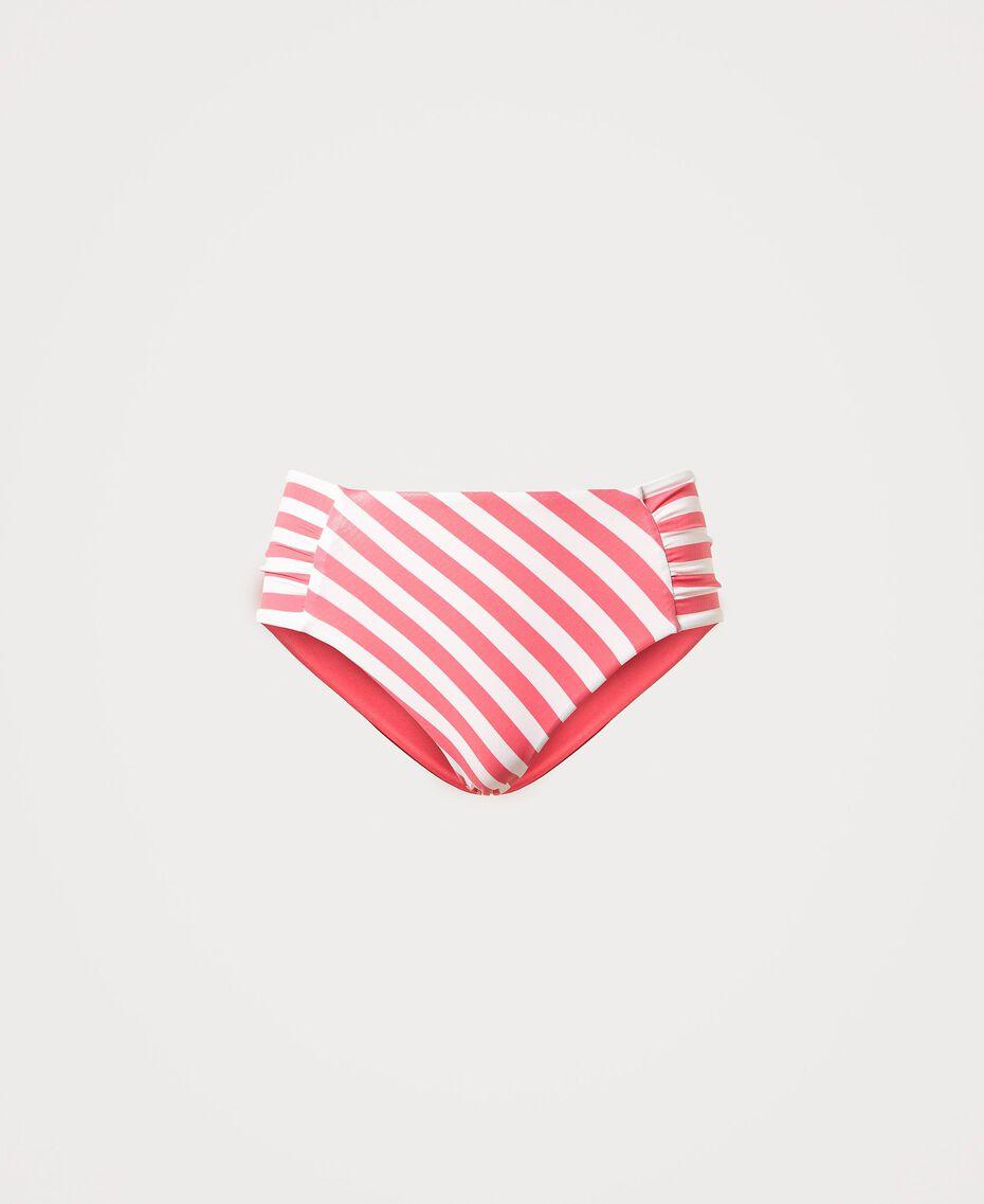 "Striped bikini bottom ""Ivory"" White / ""Cherry Pink"" Woman 211LMMJ99-0S"